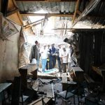 Damage from blast by suspected Islamic extremists at St. Polycarp Church in Nairobi, Kenya.