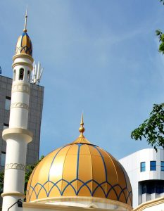 Dome of mosque in Male, Maldives, which claims to have a 100 percent Muslim population.