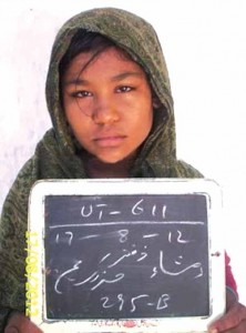 Police mug shot of Rimsha Masih, falsely accused of blasphemy in Pakistan by Islamists