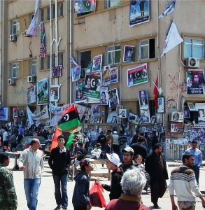 Courthouse square in Benghazi, April 2011; since the fall of the Muammar Gaddafi regime, penalties for proselytism are unclear. (Wikipedia photo by Bernd Brincken)