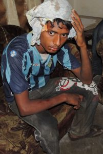 A Christian youth injured in attack in Gujranwala, Pakistan. (The Voice Society photo)