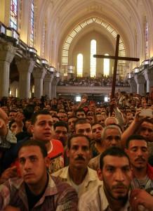 Mourners at St. Mark's Coptic Orthodox Cathedral for funeral of four slain Christians. (Morning Star News photo)