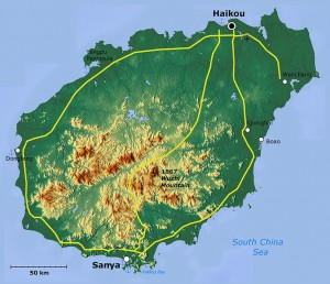 Hainan Island (Province), off southern-most coast of China. (Map Layers and Relief Maps)