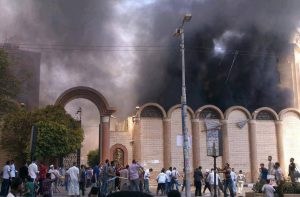 St. George Church in Sohag, one of more than two dozen Egyptian church buildings attacked on Wednesday, Aug. 14. (Watani photo)