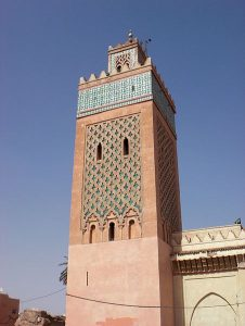 Mosque tower in Marrakech, Morocco (Wikimedia)