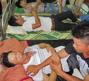 Protestors injured in confrontation with authorities in north-central Vietnam. (FVCMM)