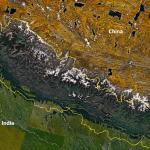 Nepal with its Himalayas, from NASA Landsat 7. (Wikipedia)