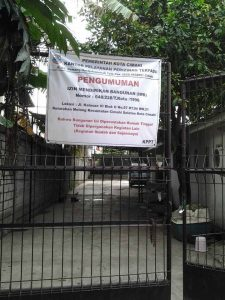 Sign sealing shut the GIA church building in Cimahi, West Java. (Morning Star News)