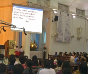 Worship in Malay language at church in Seremban, Malaysia in 2009. (Wikipedia)