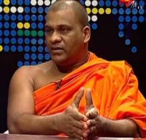 Galagoda Aththe Gnanasara, general secretary of the Buddhist extremist Bodu Bala Sena, on Helabima TV Hiru. (YouTube)