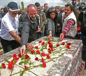 Turkish Christians at gravesite of Uğur Yüksel, April 18. (Morning Star News)