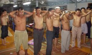 Christians at church center reenact an aspect of police raid. (Morning Star News)
