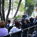 Pastor Steven Khoury preaching at service at Garden Tomb in 2007. (Courtesy of Steven Khoury)