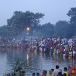 Celebration of Chhath, worship of Sun god, in Bihar, India. (Wikipedia)