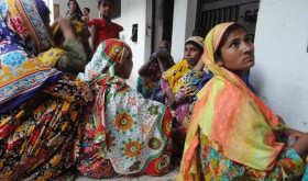 Some of those detained at house church meeting await release at Lalmonirhat police station, Bangladesh. (Morning Star News)