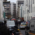 Outside Charlie Hebdo offices in Paris two hours after attack. (Thierry Caro via Wikipedia)