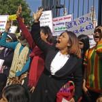 Demonstrators protest anti-Christian attacks on Feb. 5 in New Delhi. (Morning Star News)