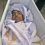 The body of Nauman Masih, 14, at his funeral. (The Voice Society)