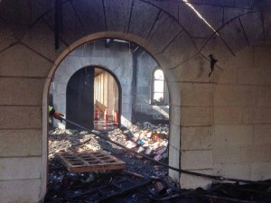Damage at Church of the Multiplication in Tabgha, on the Sea of Galilee. (Latin Patriarchate of Jerusalem)