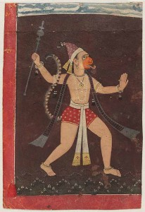 Painting from northern India, cerca 1700, of Hanuman god. (Wikipedia)