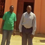 The Rev. Yat Michael (L) and the Rev. Peter Yein Reith (R) after church service in Hai Jebel in Juba. (Morning Star News)