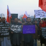 Awami Workers' Party members and slum dwellers protest eviction in Islamabad on Dec. 8. (AWP)
