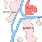 Bahri (North) Khartoum in relation to Nile and capital area. (Wikipedia)