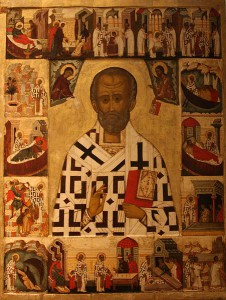 Russian depiction of St. Nicholas, late 1400s or early 1500s, National Museum, Stockholm. (Wikipedia, Bjoertvedt)