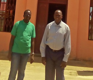 The Rev. Yat Michael (R) and the Rev. Peter Yein Reith (L) after church service in Hai Jebel in Juba. (Morning Star News)