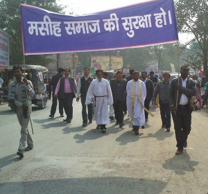Protestors march for protection of Christian community on Jan. 31. (Morning Star News courtesy of Rev. Daniel Inbaraj)