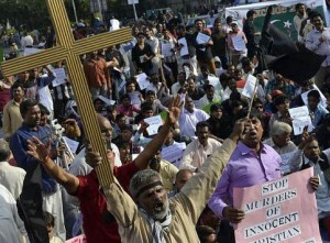 Pakistanis protest against blasphemy laws and violence against Christians. (File Photo)