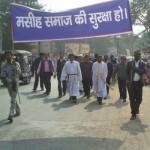 Protestors march for protection of Christian community on Jan. 31. (Morning Star News courtesy of Rev. Daniel Inbaraj)