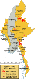 Areas of conflict in Burma (Myanmar), and soldiers are suspected of killing assistant priests. (Wikimedia, CentreLeftRight, Aoetearoa)