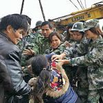 Authorities in China in altercation with woman defending her church building. (China Aid)