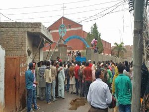 One of two church buildings targeted on March 15, 2015 in the Youhanabad area of Lahore, Pakistan. (CLAAS)