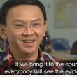 Jakarta Gov. Basuki Ahok Tjahaja Purnamat on recent broadcast in Indonesia. (screen grab)