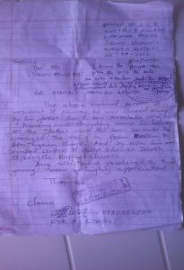 Letter from chairman of the Tirinyi Local Council requesting help from Tirinyi police for 20-year-old Christian allegedly beaten by his father. (Morning Star News)