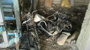 Destroyed motorcycle of congregation member after attack in Jammu and Kashmir, India. (Morning Star News)