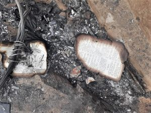 Burnt pages of Bible at church building gutted by fire in Tamil Nadu, India. (Morning Star News)