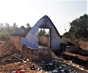 Charred remains of Advent Christian Church building in In Thiruvannamalai, India. (Morning Star News)
