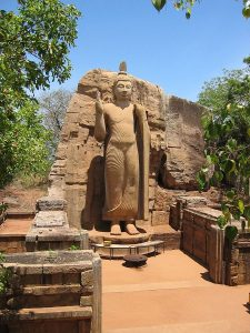 Fifth-century Aukana statue of Buddha in north-central Sri Lanka. (Wikipedia)