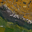Nepal with its Himalayas, from NASA Landsat 7. (Wikipedia)