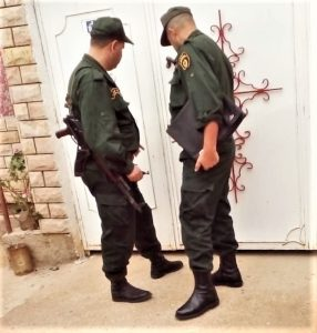 Police at doors of Church of Jesus Christ on Tuesday (Oct. 15) in Azaghar village, Akbou, Algeria. (Morning Star News)