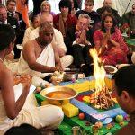 Brahmin in Hindu ritual. (Wikipedia, Krishna Avanti Bhumi Puja)