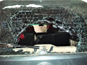 Damage Hindu extremist mob did to Pastor John Lakra's car in attack. (Morning Star News)