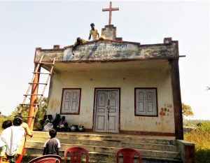 Hindu extremists and tribal animists team up to transform church building into Sarana religion complex in Ranchi District, Jharkhand state, India. (Morning Star News)