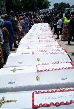 Coffins at the funeral of Christians slain in Konshu-Numa village, Nasarawa state, Nigeria on Sunday, April 14, 2019. (Morning Star News)
