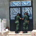 Gendarmes seal shut doors of church Boudjima, Algeria on May 22, 2019. (Morning Star News)