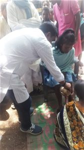 "Village leader forces a Christian woman to undergo ""reconversion"" rite to tribal religion in Mahuatoli village, Jharkhand state, India on June 14, 2019. (Morning Star News)"