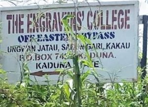 Engravers' College sign in Kakau Daji village, Chikun County, Kaduna state, Nigeria. (Morning Star News)
